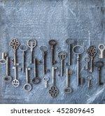 variety of keys on a dark...   Shutterstock . vector #452809645