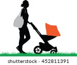 young mother with bag push the... | Shutterstock .eps vector #452811391