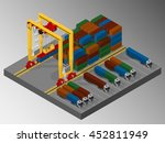 harbor container gantry crane.... | Shutterstock .eps vector #452811949