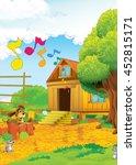 cartoon happy farm scene   some ... | Shutterstock . vector #452815171