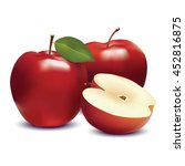 red apple and slice isolated on ... | Shutterstock .eps vector #452816875