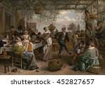 Jan Steen, by The Dancing Couple, 1663, Dutch painting, oil on canvas. At a party, gathered under a grape arbor, a staid, well-dressed girl dances with a robust country man. Symbols abound: Caged bir