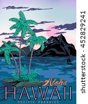 vector hawaii poster with... | Shutterstock .eps vector #452829241
