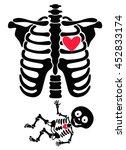 pregnant. funny skeletons mom... | Shutterstock .eps vector #452833174