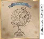 Antique Globe Hand Drawn Sketc...