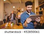 graphic designer using digital...   Shutterstock . vector #452850061