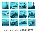 set of travel icons with... | Shutterstock .eps vector #452865979