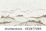 hand drawn rural field...