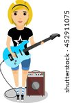 girl with an electric guitar in ... | Shutterstock .eps vector #452911075