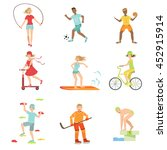people enjoying physical... | Shutterstock .eps vector #452915914
