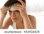 skin care. woman removing oil... | Shutterstock . vector #452926525
