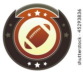Football icon on round red and brown imperial vector button with star accents - stock vector