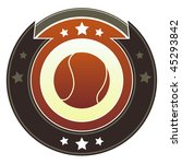 Softball icon on round red and brown imperial vector button with star accents - stock vector