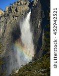 yosemite falls with rainbow in... | Shutterstock . vector #452942521