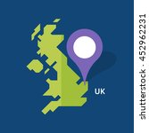 map of united kingdom on blue... | Shutterstock .eps vector #452962231