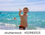 the joyful child on the sea | Shutterstock . vector #452983525