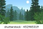 forest landscape flat color... | Shutterstock .eps vector #452985319