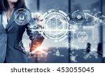 woman using modern technologies ... | Shutterstock . vector #453055045