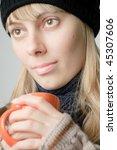 young beautiful woman in winter ... | Shutterstock . vector #45307606