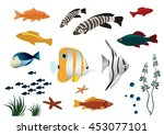 Stock vector vector illustration of skeleton of tropical fishes 453077101