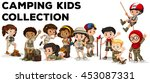 children in camping outfit ... | Shutterstock .eps vector #453087331