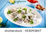 Stock photo marinated herring fillets in cream 453093847