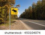 Moose Road Sign  Autumn