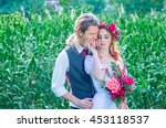 beautiful wedding couple in the ... | Shutterstock . vector #453118537