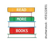 a stack of hardback books with... | Shutterstock .eps vector #453122851