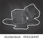 two ice cubes on chalkboard... | Shutterstock .eps vector #453126445