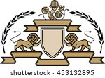 two lion heraldic attributes... | Shutterstock .eps vector #453132895