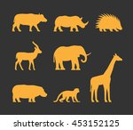 gold set of silhouettes african ... | Shutterstock . vector #453152125