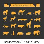 set of silhouettes of african... | Shutterstock . vector #453152899