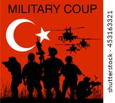 military coup in turkey. social ... | Shutterstock .eps vector #453163321
