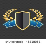 shield with ribbons and laurels | Shutterstock .eps vector #45318058