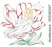girl and flower | Shutterstock .eps vector #453182347