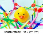 yellow rubber duck on white...   Shutterstock . vector #453194794