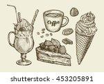 hand drawn milk shake  ice... | Shutterstock .eps vector #453205891