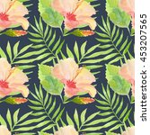 seamless tropical watercolor... | Shutterstock . vector #453207565