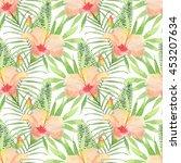 seamless tropical watercolor... | Shutterstock . vector #453207634