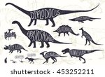 set of silhouettes of dinosaurs ... | Shutterstock .eps vector #453252211