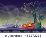 cartoon vector halloween... | Shutterstock .eps vector #453272215