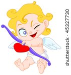 cute cupid ready to shoot his... | Shutterstock .eps vector #45327730