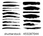set of black paint  ink brush... | Shutterstock .eps vector #453287044