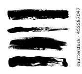 set of black paint  ink brush... | Shutterstock .eps vector #453287047