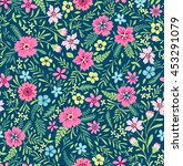 seamless cute floral pattern.... | Shutterstock .eps vector #453291079