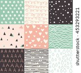 set of abstract seamless... | Shutterstock .eps vector #453293221