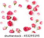 Stock photo framework from roses on white background flat lay 453295195
