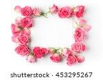 Framework From Roses On White...