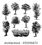 silhouette of trees set 1  ink... | Shutterstock .eps vector #453296671